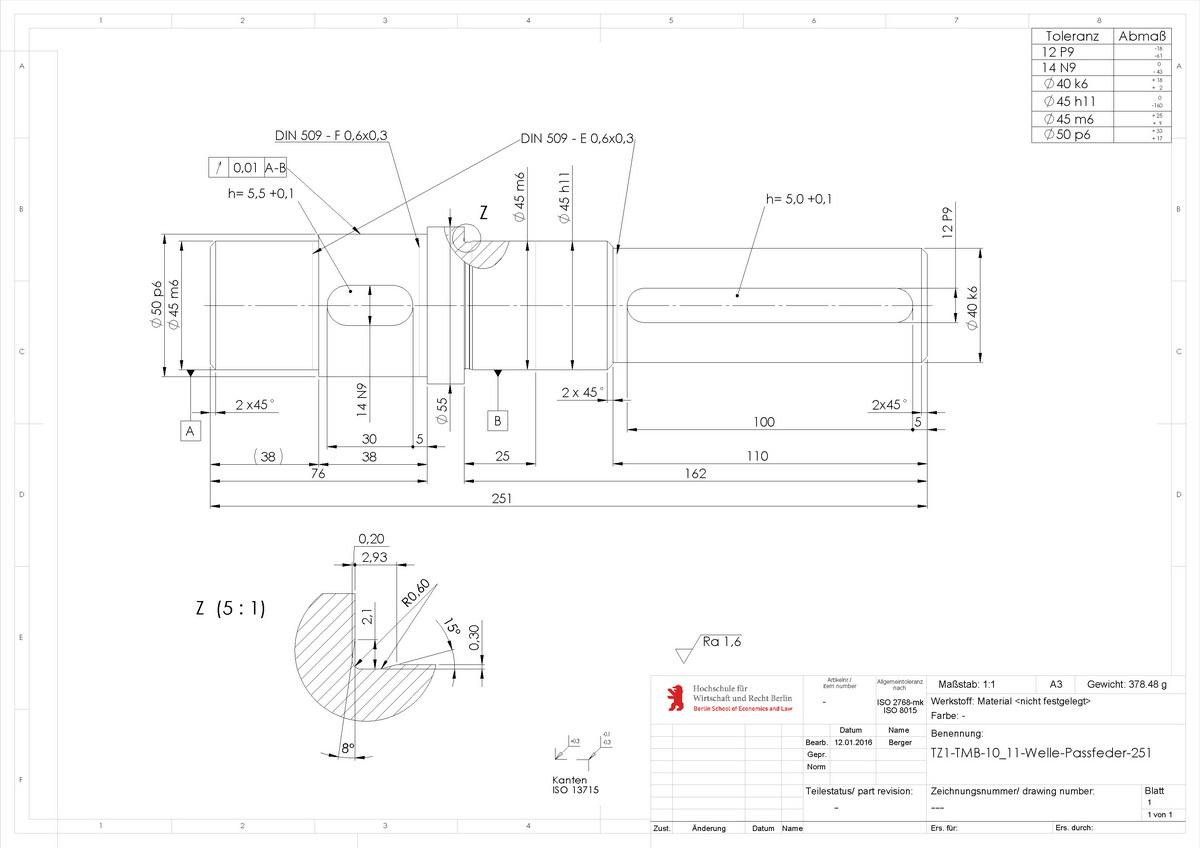 Technische-Zeichnung-Welle-Passfeder für Hochschule
